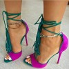 Women's Magenta and Green Stiletto Heels Suede Lace Up Strappy Heels Pumps thumb 1