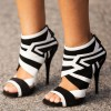 Black and White Heels Open Toe Stiletto Heel Summer Booties thumb 1