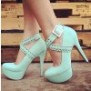 Women's Green Stiletto Heels Crossed-over Ankle Straps Platform Shoes thumb 1
