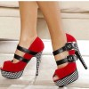 Red Platform Heels Houndstooth Suede mary Jane Shoes Key Hole Pumps thumb 1