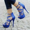 Royal Blue Heels Strappy Stilettos Platform Sandals  thumb 1