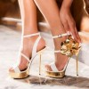 White and Gold Evening Shoes Floral Platform Stiletto Heels Sandals thumb 1