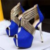 Royal Blue Peep Toe Platform Stiletto Heel Stripper Shoes thumb 1