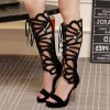 Black Gladiator Heels Lace up Stiletto Heel Platform Sexy Shoes thumb 1