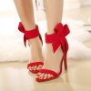 Red Wedding Shoes Cute Bow Stiletto Heels Ankle Strap Sandals thumb 1