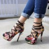 Floral Heels Strappy Platform Pumps High Heel Shoes thumb 1