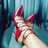 Coral Red Strappy Upper Stiletto Pumps thumb 1