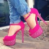 Hot Pink T Strap Sandals Sequined Peep Toe Platform Heels thumb 1