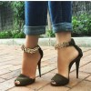 Army Green Metal Ankle Strap Sandals Peep Toe Cone Heels thumb 1
