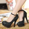 Black Sparkly Heels Platform Pumps Ankle Strap Glitter Shoes thumb 1
