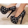 Women's Leila Black and Silver Flowers Printed Pumps Platform Heels thumb 1