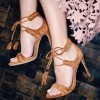 Women's Tan Lace Up Ankle Strap Sandals thumb 1