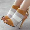 Khaki and White Summer Boots Slingback Peep Toe Heels thumb 1