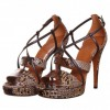 Women's Brown Open Toe Stiletto Heels Strappy Sandals thumb 1