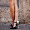 Black and Gold Closed Toe Sandals Ankle Strap Stiletto Heels thumb 1