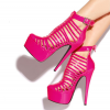 Women's Red Strappy Platform Heels Buckle Stiletto Heels Closed Toe Sandals thumb 1