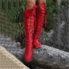 Women's Red Gladiator Boots Strappy Flat Knee-high Lace Up Boots thumb 1