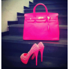 Hot Pink Platform Heels Studded Pumps High Heel Shoes thumb 1