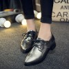Grey Women's Oxfords Lace up Pointy Toe Patent Leather Vintage Shoes thumb 1