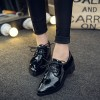 Women's Oxfords Patent Leather Black Lace up Heels Vintage Shoes thumb 1
