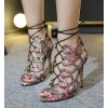 Python Strappy Sandals Open Toe 3 Inch Stiletto Heels for Women thumb 1