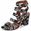 Black and White Buckles Block Heels Open Toe Sandals thumb 1