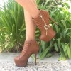 Tan Boots Platform Stiletto Heel Fashion Ankle Boots with Buckle thumb 1