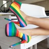 Women's Rainbow Multi-color Platform Stiletto Heels Dress Shoes Almond Toe Pumps  thumb 1