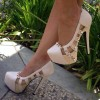 Women's White Rivets Stiletto Heel Hollow-out Platform Shoes thumb 1