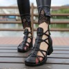 Black Vegan Shoes Closed Toe Low Heel Summer Boots US Size 3-15 thumb 1