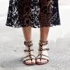 Women's Black Silver Studs T-Strap Flats Gladiator Sandals thumb 1