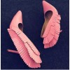 Pink Stiletto Heels Pointy Toe Fringe Pumps for Party thumb 1