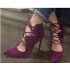 Burgundy Heels Pointy Toe Lace up Suede Stiletto Heel Pumps thumb 1
