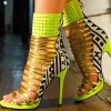 Lime Green Gladiator Sandals Open Toe Stiletto Strappy Heels For Women thumb 1
