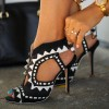 Black and White Heels Peep Toe Cutout Sandals Stiletto Heels  thumb 1