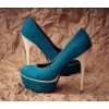 Blue Platform Heels Satin Pumps Stiletto Heels for Bridesmaid thumb 1