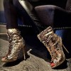 Dark Champagne Sequin Boots Peep Toe Stiletto Heel Party Slouch Boots thumb 1