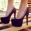Black Platform Heels Metal Chain Stiletto Heel Pumps thumb 1