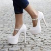 White Mary Jane Pumps Platform Stiletto Heels for Women thumb 1