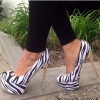 Black and White Heels Zebra Platform Pumps Stiletto Heels with Rivets thumb 1
