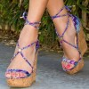 Purple Cork Wedges Open Toe Strappy Platform Sandals thumb 1