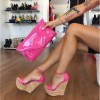 Hot Pink Cork Wedges Open Toe Patent Leather Ankle Strap Sandals thumb 1