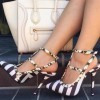 Black and White Stripes T Strap Sandals Slingback Stiletto Heels with Rivets thumb 1