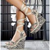 Zebra Wedge Sandals Open Toe Strappy Platform High Heels Wedges thumb 1