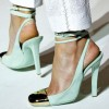 Turquoise Heels Slingback Pumps Strappy Chunky Heels with Metal Toe thumb 1