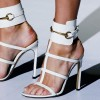 Women's White Open Toe Buckle Stiletto Heel Ankle Strap  Sandals Shoes thumb 1