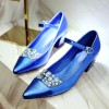 Royal Blue Wedding Heels Pointy Toe Chunky Heel Mary Jane Pumps for Bridesmaid thumb 1