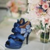 Women's Navy Peep Toe Platform Floral Stiletto Heel Sandals Bridal Shoes  thumb 1