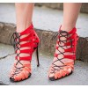 Women's Red Strappy  Hollow Out Stiletto Heel Lace-up Sandals thumb 1