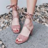 Light Pink Strappy Sandals Suede Chunky Heels  thumb 1